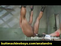 A bound guy self sufficient by ball,anal plug,machine