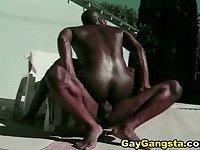Black Gay Gangsta do Anal Fucking Scene Outdoor