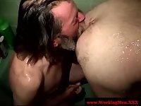 Bearded straight bear shower anal sex