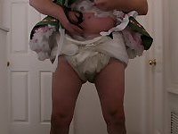 Sissybaby beerwench in white kneesocks and chastity cage wetting diaper