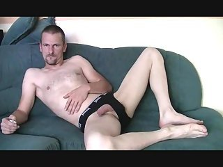 Amateur Dude Wanking On A Couch