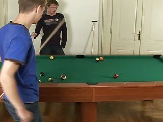 Horny Threesome Playing Billiards