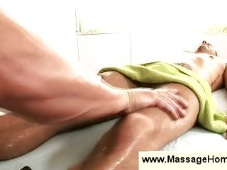 Masseur takes a peek at a guys cock