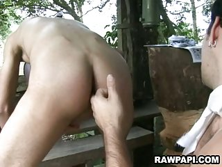Ethnic gays anal pounding action