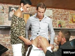 Hot brunette and gay queer together suck bisex cock