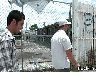Black gay thug sucking and fucking two guys