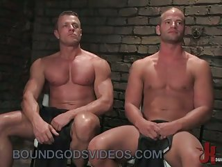 Bound and suspended gay asshole fucked in dungeon