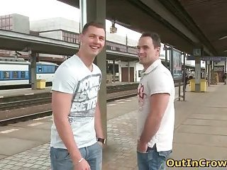 Two gay dudes have fun on the railway station