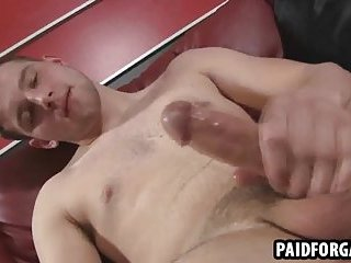 Horny straight hunk tugging on his rock hard cock