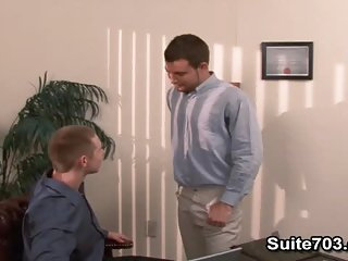 Gays Spencer and Trent fucking in the office