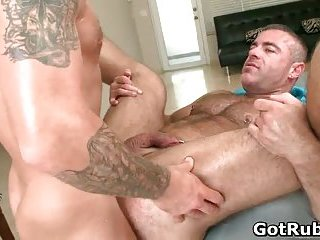 Muscled hunk with tattoos fucking his massage pro