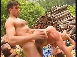 Yummy Gay Guys Threeway Outdoor Fuck