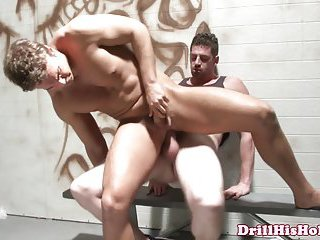 Athletic top getting his cock ridden at the toilet