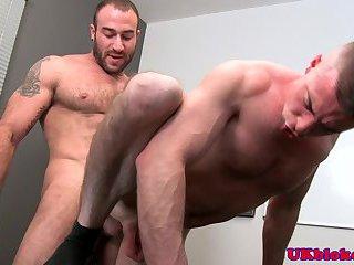English knob jockeys office desk bum sex