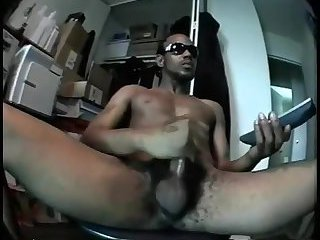 Black stud wanks off huge pole