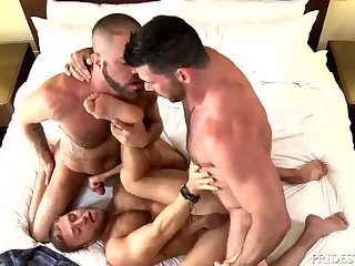 Beefy Gay Trio Safe Ass Pounding